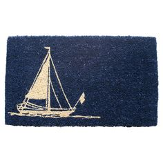 Extend a warm welcome to family and friends with this hand-woven coir doormat, featuring a charming sailboat motif.  Product: Do...