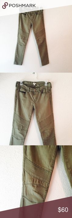 J. Crew olive moto skinny jean motorcycle pant J crew motorcycle skinny jean. Beautiful olive green color jeans with cool moto details on the leg. I seriously love these! It's made with stretch fabric and there's a few areas where the material has puckered, but not noticeable when worn. In otherwise excellent condition! Size 25. J. Crew Jeans Skinny