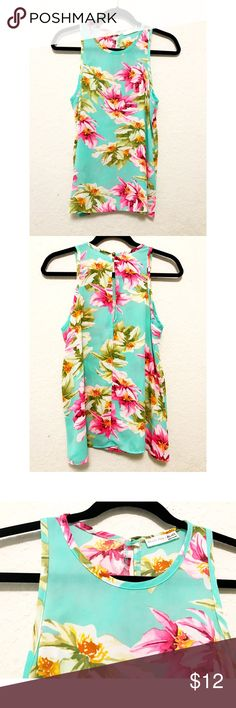 ⭐️Mint Floral Print Sleeveless Top⭐️ Mint chiffon floral print sleeveless top from Agaci. In excellent condition.  PRICE IS FIRM unless bundled.  NO Trades. NO Models. Agaci Tops
