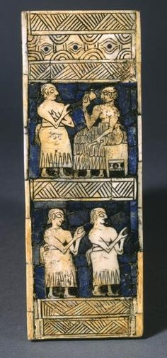 A Sumerian king (right) has a drink while being attended by a servant. The king is holding a shepherd's flail, a symbol of authority. The servant holds his hand under his armpit as a gesture of obedience. Detail from a lyre inlay, partially restored.
