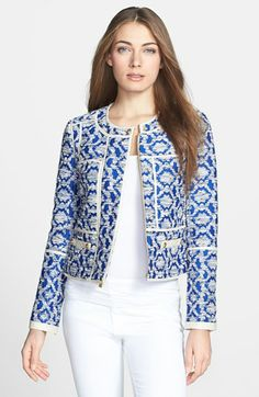 Diane von Furstenberg 'Maelee' Crop Jacquard Jacket | Nordstrom. Gorgeous. Wish I could find a cheaper version.