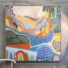 Abstract Drawings, Colorful Drawings, Art Drawings, Modern Abstract Art, Modern Art Paintings, Modern Art Prints, Mini Toile, Australian Art, Diy Canvas Art