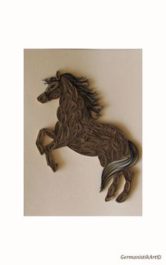 Horse Quilling Card Horse Greeting Card Year of by GermanistikArt, $10.00