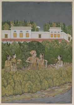 """""""Prince and ladies in a garden"""", painting by Nidha Mal, mid-18th century, India, Lucknow, source: The Metropolitan Museum of Art"""