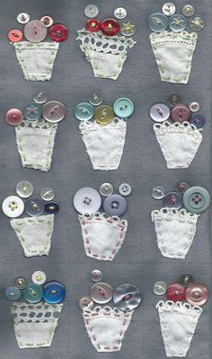 ButtonArtMuseum.com - vintage button bouquet vases