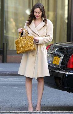 5x22 I love the coat with bare legs. Super cute. Hervé Léger dress. Louis Vuitton bag. Sergio Rossi shoes.