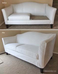 White Dockside Denim slipcover custom made for a new Ethan Allen leather sofa. Why? Edward, the cat :) #denimslipcover #slipcovermaker