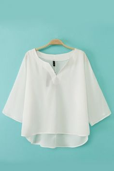 V-neck Half Sleeves Plain Blouse