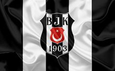 Download wallpapers Besiktas, Football, Turkish football club, Besiktas emblem, logo, black and white silk flag, Istanbul, Turkish Football Championship