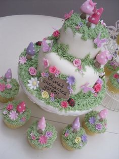 Enchanted Garden Fairy Cake - All For Garden Fairy Birthday Party, Birthday Cake Girls, Birthday Cakes, Birthday Ideas, 5th Birthday, Garden Birthday Cake, Birthday Gifts, Pretty Cakes, Cute Cakes