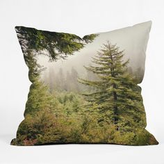 Deny Designs Catherine Mcdonald Into The Mist Throw Pillow (26 x 26), Green (Polyester, Nature)