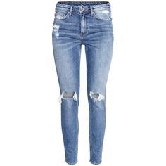 H&M Skinny High Ankle Jeans ($46) ❤ liked on Polyvore featuring jeans, pants, bottoms, denim blue, high-waisted skinny jeans, skinny fit jeans, blue jeans, super skinny ankle jeans and short pants