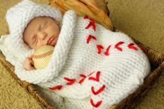 Knit Baseball Cocoon and Hat - so cute!