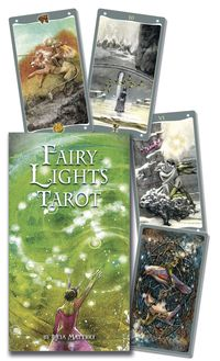 "The Fairy Lights Tarot Deck - ""The poetic art of Lucia Mattioli sings in this unique and imaginative tarot. Each card is part of a bigger picture that is complete when paired with another card. An ever-present fairy light helps to break down psychological barriers, provide clarity, and allow truth to become known. Emotionally rich and intuitive, The Fairy Lights Tarot Deck will touch your heart and reveal your soul."" #fairy #tarot #lights #deck"