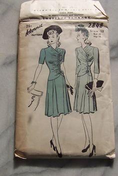 1940s Advance Dress Pattern by joyofvintagewithsam on Etsy, $10.00