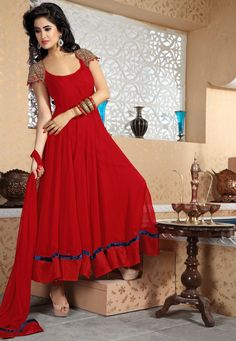 Red Faux Georgette Abaya Churidar Kameez @ $235.80