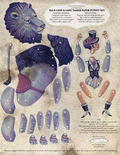 DIY Printable PDF, Paper Puppet Doll Set, Lion Circus Animal for Gift Giving or Circus Party Decor. $6.00, via Etsy.