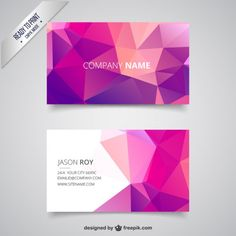 Business card with pink polygons Free Vector