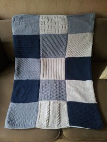"""Cath et Cie Créas: The different squares of the blanket """"patchwork"""" . Knitted Squares Pattern, Crochet Square Patterns, Patchwork Patterns, Crochet Squares, Baby Patterns, Knitting Patterns Free, Baby Knitting, Patchwork Blanket, Granny Squares"""