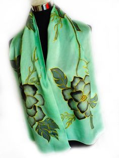 handpainted silk scarf with flowers ( green and Black) by REDCAT-SILKART https://www.facebook.com/pages/RedCat-SilkArt/763364543697174?ref=hl