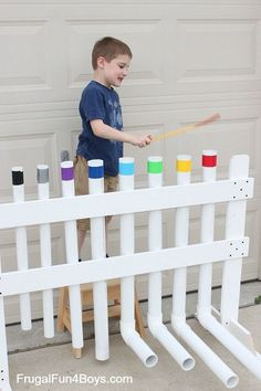How to Make a PVC Pipe Xylophone Instrument - Frugal Fun For Boys and Girls Music Instruments Diy, Homemade Musical Instruments, Pvc Pipe Instrument, Backyard For Kids, Diy For Kids, Backyard Ideas, Music For Kids, Maker Fun Factory Vbs, Preschool Playground