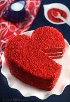 red velvet heart cake via sprinkle bakes