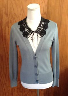 Penelope Tree embellished cardy - crochet collar, vintage buttons.