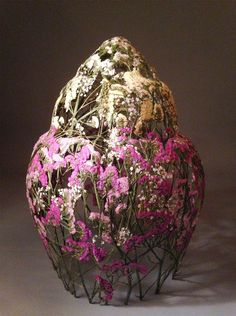 """""""Spanish artist Ignacio Canales Aracil creates vessels reminiscent of upside-down baskets using nothing but pressed flowers. The art of flower pressing dates back thousands of years; pressed …"""