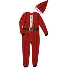 Holiday Family Pajamas Santa Onesie Sleepwear Union Suit with Santa Hat, Boy's, Size: Girls' M, Red