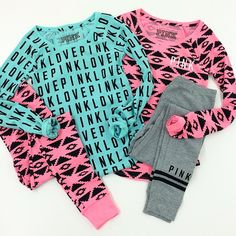Pink Sleep Thermal Tops and Bottoms - Victoria's Secret ❤ Victoria Secret Pajamas, Victoria Secret Outfits, Pink Victoria Secret, Victoria's Secret Pink, Victoria Secrets, Cute Pjs, Cute Pajamas, Pink Outfits, Cool Outfits