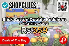 Shopclues #DealsofTheDay is offering 64% off on Slick Cotton Double Bedsheet with 2 Pillow Cover at Rs.359 Only. 10% off using Coupon Code – HOME10  http://www.paisebachaoindia.com/slick-cotton-double-bedsheet-with-2-pillow-cover-at-rs-359-only-shopclues/