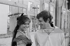 shooting 'CARTOUCHE' by PHLIPPE DE BROCA - Jean-Paul Belmondo with Claudia Cardinale in France on November 08, 1962