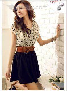 Beautiful Short Sleeve Round Neckline Polka Dots Dress : Tidebuy.com