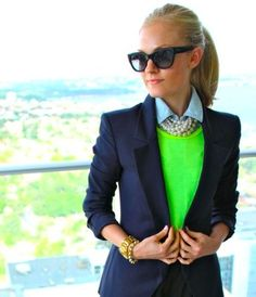 pop of neon, love those pearls, too!
