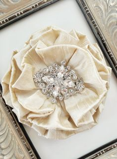 Champagne Silk Dupioni Hair Flower or Brooch for Bridal Sash - Ready to Ship. $58.00, via Etsy.