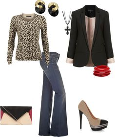 My leopard sweater and bell-bottom jeans make this outfit work...