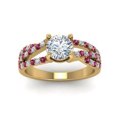 U Prong Round Cut Diamond Split Trio Band Split Shank Engagement Ring with Pink Sapphire in 14K Yellow Gold exclusively styled by Fascinating Diamonds