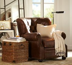 I need to replace the hub's ugly behemoth with this classic leather recliner from Pottery Barn.