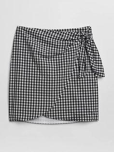 Gingham Print Wrap Mini Skirt