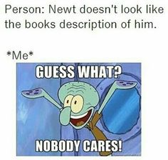 Yeah, us book fans are okay with that! ;)<<<Who doesn´t like TBS as Newt?!?!?!? He´s perfect for the role!!!