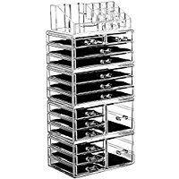 Ikee Design Acrylic Jewelry and Makeup Organizer Storage Drawer Five Pieces Set (8 Small, 2 Square, and 5 Large Drawers)
