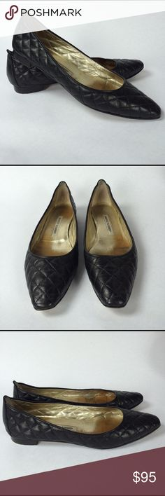 MANOLO BLAHNIK Black Quilted Flats Well loved black leather Manolo Blahnik flats with lots of wear in then. No visible scuffs or marks on outside. Runs small. Looking for a new home! Manolo Blahnik Shoes Flats & Loafers