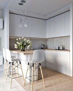 45 Inspiring Modern Scandinavian Kitchen Design Ideas Home Design Ideas Kitchen Room Design, Luxury Kitchen Design, Home Decor Kitchen, Kitchen Layout, Interior Design Kitchen, Home Design, Home Kitchens, Design Ideas, Kitchen Ideas