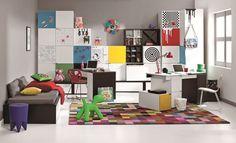 Модульная польская детская мебель Young Users VOX (Польша) в черно-белом цвете с разноцветными накладками на фасады. #детская #мебель #интерьер #современнаямебель #мебельдлядома