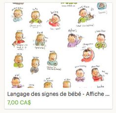 EN - Baby sign language poster (ENGLISH PRINTABLE) - Sign with baby communication to print, new mom, parents gift, speak, illustration - Babysitter British Sign Language, Baby Sign Language, French Language, Parent Group, Father And Baby, Mo S, Budget Planner, Parent Gifts, New Moms