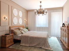 Дизайн спальни - Интерьер таунхауса в смешанном классическом стиле в пос. Янино, 70 кв.м.