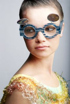 knitted plastic top and sunglasses. Jane Bowler SS12