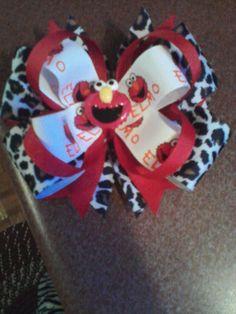 5 in. Elmo leopard print bow