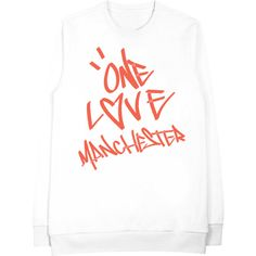 Graffiti One Love MCR Crew Neck ❤ liked on Polyvore featuring tops, t-shirts, crew top, crew-neck tops, white crew neck tee, white tops and crew neck t shirt