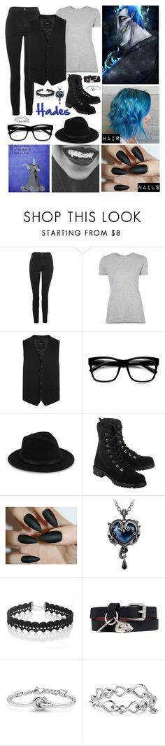 """""""Disney: Hades"""" by the-whispers-of-the-dreamless ❤ liked on Polyvore featuring Topshop, ADAM, ZeroUV, Saks Fifth Avenue, Stuart Weitzman, WithChic, Alexander McQueen, BERRICLE and David Yurman"""